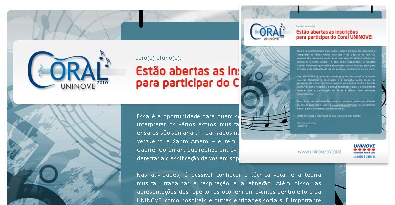 E-mail Marketing | Divulgação do Coral | Uninove