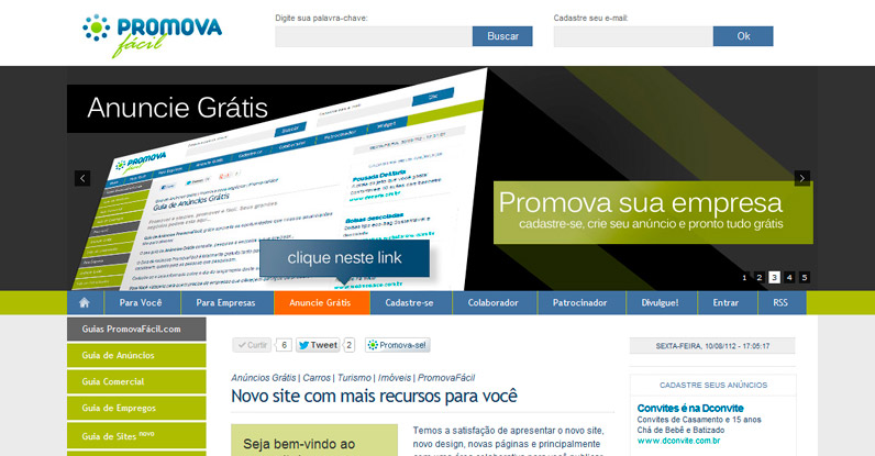 Web design do website PromovaFácil.com.br