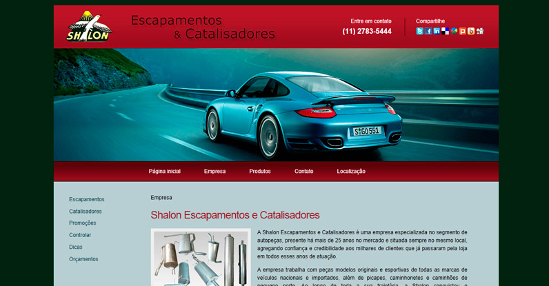 Web design do website Shalon Escapamentos